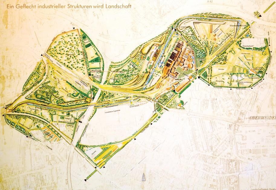 Landscape park DuisburgNord Urban greenblue grids