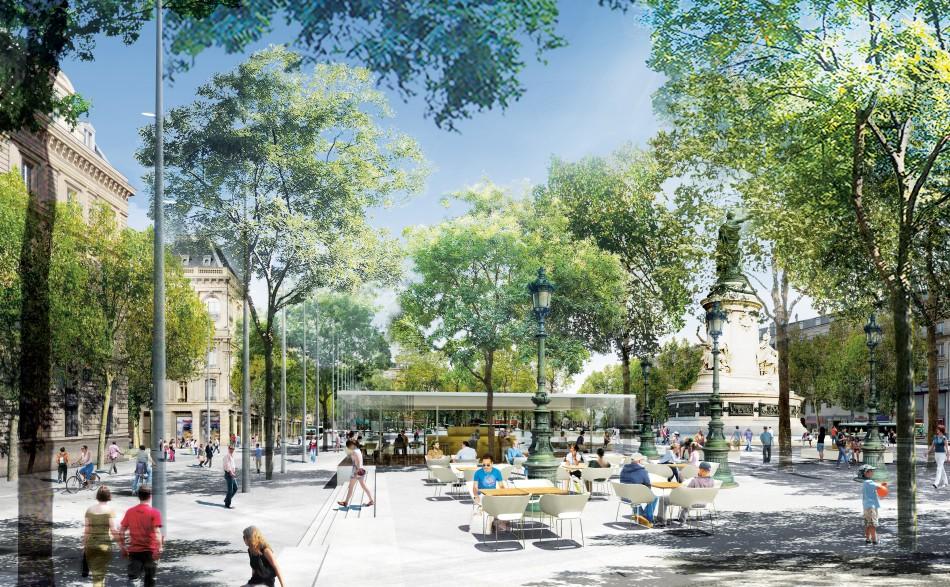 Place de la r publique paris urban green blue grids for Piscine publique paris