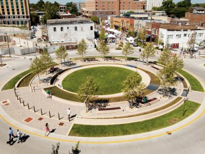 Normal's uptown water circle: Waterrotonde in Normal, Illinois, US