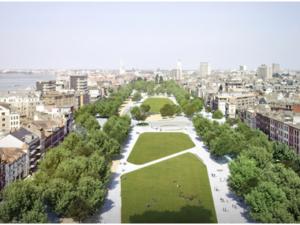 Zuiderdokken – public space area on Scheldt river bank in Antwerpen city centre