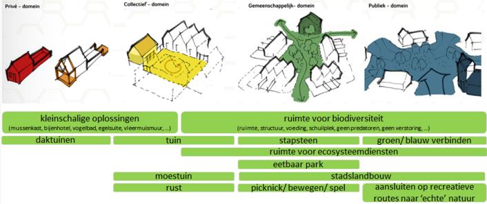 Relatie tussen schaal van de ontwikkeling, potentie voor biodiversiteit en ecosysteemdiensten
